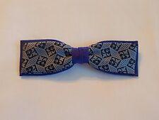 Vintage Men's Clip-On Bow Tie Purple Black Fleur De Lis Rockabilly 50s 60s