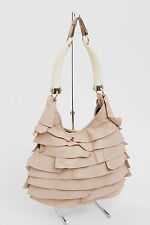 YVES SAINT LAURENT YSL St.Tropez Mombasa Pink Blush Leather Tiered Ruffle Purse