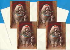 POODLE PACK OF 4 CARDS DOG PRINT GREETING CHRISTMAS CARDS