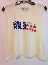 NWT WILDFOX American Fox Tank Size S Beige Cotton 100%