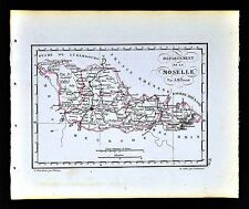 1841 Perrot France Map Departement Moselle Metz Thionville Sarreguemines Forbach