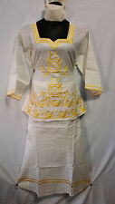 Women Clothing African Dashiki Skirt Suit Attire Off White Free Size Print #9316