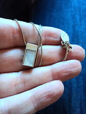"PRETTY M&S STERLING SILVER & MOP MOTHER OF PEARL PENDANT ON 16"" 1MM SNAKE CHAIN"