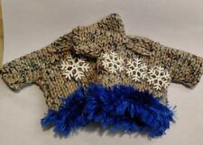 Set of Two Variegated & Snowflake Mini Hand Knit Sweater Christmas Ornaments