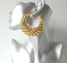 Gorgeous oversized gold tone patterned big & chunky round creole hoop earrings