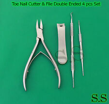 Ingrown Toe Nail Nipper, Lifter, Cutter and File Double ended sided 4pcs Set