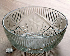 clear pressed GLASS SERVING BOWL cut etched satin frosted FLOWER pattern