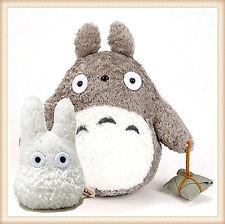 """Japanese  Studio Ghibli My Neighbor Totoro 9"""" gray plush 4.5"""" small white doll"""