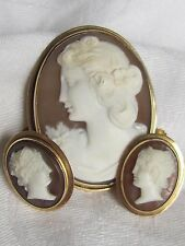 Antique yellow 14K Gold  Hand Carved Shell Cameo Pendant pin brooch Earrings