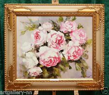 "IMPRESSIONIST ""THE PINK ROSES BOUQUET"" ORIGINAL OIL PAINTING BY KNIFE FRAMED"