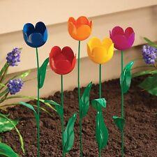 NEW ~ Set of 5 Metal Flowers Garden Decor Outdoor Indoor Yard Tulip Stake