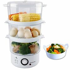 Ovente 7.5-Quart 3-Tier Electric Food Steamer with Rice Bowl, White (FS53W) NEW