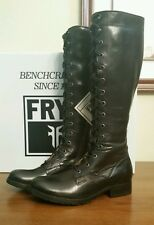 Frye Melissa Tall Lace Up Black Leather Boots NIB ~ 6.5
