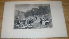 ANTIQUE HADDON HALL RENAISSANCE COSTUME PICNIC TERRACE STAIRS COOK KETTLE  PRINT
