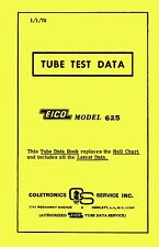 1978 Tube Test Data for Eico 625 Tube Testers