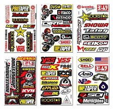 6x Racing Sponsor Logo Stickers Motocross Motorcycle Super Bike Big Bike Decals