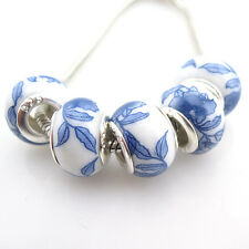 20pcs Blue Flower Pattern Ceramic Loose Charms Beads Fit European Bracelet Hot D