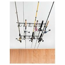 CEILING Fishing Pole HOLDER 12-Rod Reel Storage Rack Organizer Indoor Outdoor