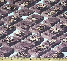 "Brownies Nuts Chocolate Dessert Fabric by Yard 100% Cotton ""In the Mix""  Food"