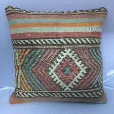 "Handmade Turkish Kilim Cushion Cover, Throw Pillow, Aztec, Boho 16x16"" (40x40cm)"