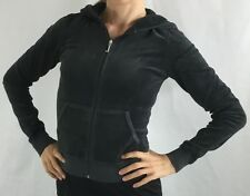 Juicy Couture Hoodie Jacket Velour Long Sleeve Zip Up Graphite Grey Birds Size S