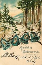 Early New Year Date Postcard 1903 German Numerals in Bells, Snowy Forest Village