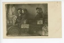 Pipe & Cigar Smoking Men in Tiny Fake Car RPPC Antique Studio Photo 1910s