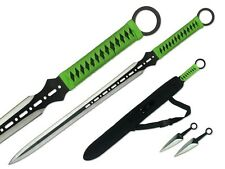 "27"" Ninja Sword Machete Full Tang Tactical Blade w/ 2 throwing Knives - Green"