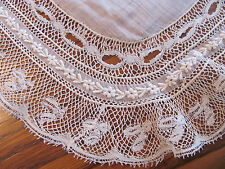 Fine Antique White Embroidered French Net Lace Linen Bride's Wedding Hankie #13