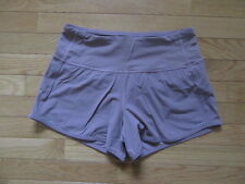 LULULEMON RUN TIMES SHORTS, DUSTY ROSE PINK WITH LIME, EUC, 4