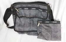 LeSportsac Grey Deluxe Shoulder Satchel Cross body Handbag Pouch/Make Up Bag