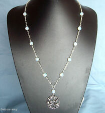 """Beautiful Hummingbird Pendant Opalite Beaded Chain 24"""" Necklace in Gift Bag"""