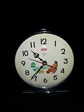 VINTAGE WIND UP ROOSTER DIAMOND ALARM CLOCK CHINA CHARACTER TIN LITHO MECHANICAL