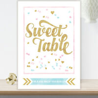 Sweet Table Candy Buffet Sign Glitter Effect Blue Pink Black Wedding Party GL2