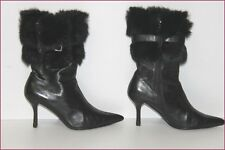 MINELLI Bottines Boots Pointus Tout Cuir Fourrure Lapin T 37 TBE