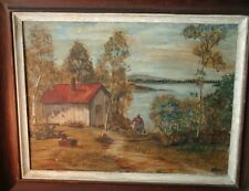 Vintage Regional Landscape Waterside Painting Singed WEIRI