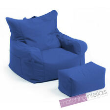 Blue Budget Bean Bag Chair + Foot Stool Gamer Armchair Garden Beanbag Seating
