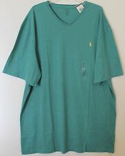 Polo Ralph Lauren Big and Tall Mens Teal Green Heather V-Neck T-Shirt NWT 3XLT