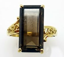 10k Gold Emerald Cut Genuine Natural Smoky Quartz Ring (#3475)