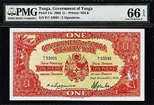 Tonga 1 Pound 1966 Pmg 66 Gem Uncirculated Epq P 11e *The Best Known Ever*Rare