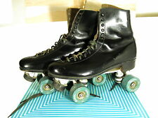 RIEDELL ROLLER SKATES~SZ.10~BLACK~RIEDELL LEATHER HIGH TOP ROLLER SKATE~SURE GRI