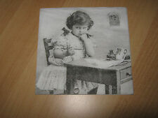 2 Servietten/Napkins, Mädchen am Schreibtisch, Nostalgie - NEU !!!