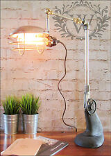 Vintage Industrial Retro Style Old Pipe Desk Table Lamp Light adjustable Caged