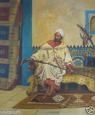 "Hand Painted Oil Stretched On Canvas 20""x24"" ~Middle Eastern Man~"