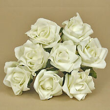 "24 x 2"" 5cm Dia. Open Roses White Colourfast Foam Artificial Wedding Flowers"