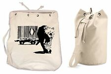 BANKSY BARCODE LEOPARD DUFFLE BAG College Rucksack Gym Beach Backpack Sports