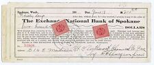 EXCHANGE NATIONAL BANK SPOKANE 2 MULTIPOST + 4¢ DOCUMENTARY 1919 % in GOLD COIN