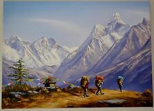 Landscape Hand Painted Mountain 55cm X 40cm Art Nepal Oil Painting Canvas Framed