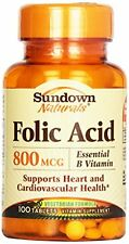 Sundown Naturals Folic Acid 800 mcg, 100 Tablets Each