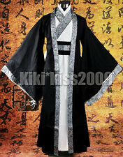 China HanFu Kimono Men's Festival Black/Sliver Robe CustomMade